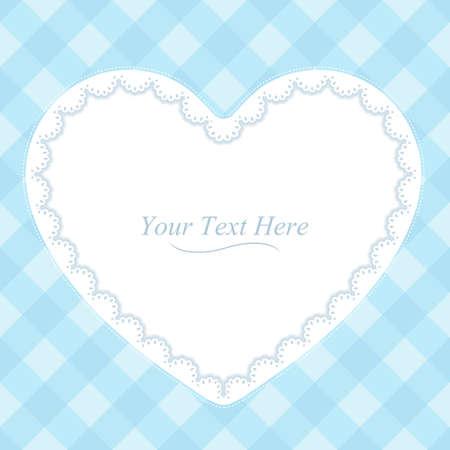 A heart shaped lace frame on a soft blue plaid background