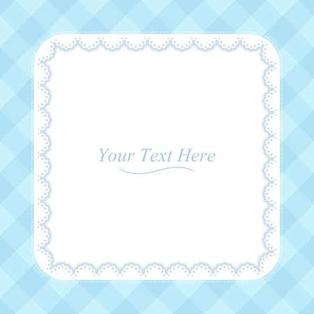 A square lace frame on a soft blue plaid background