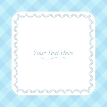 A square lace frame on a soft blue plaid background