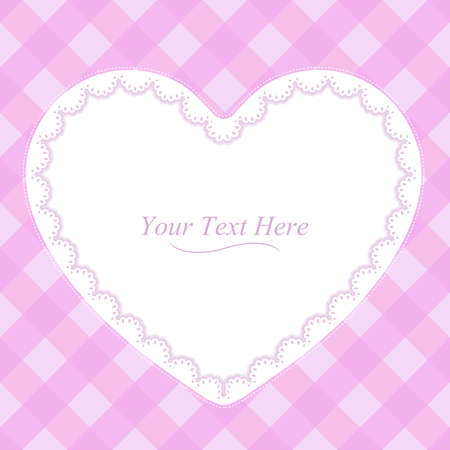 A heart shaped lace frame on a soft pink plaid background  Illustration