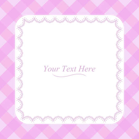 A square lace frame on a soft pink plaid background  Vector
