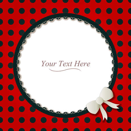 A cute black and red polka dot round frame accented with a small white bow and black lace  Vector