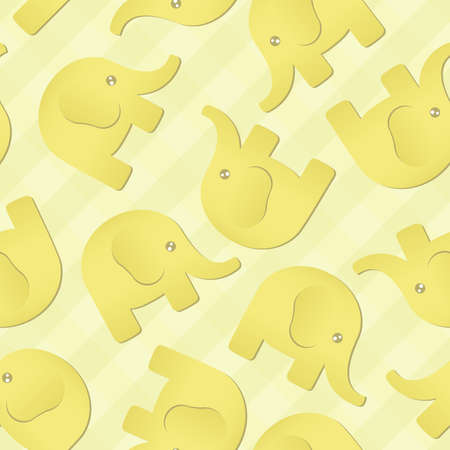 A soft yellow background depicting cartoon elephants  Seamlessly Repeatable