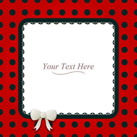 A cute black and red polka dot square frame accented with a small white bow and black lace  Vettoriali