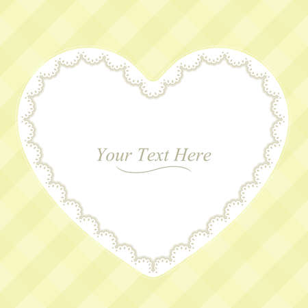 A heart shaped lace frame on a soft yellow plaid background