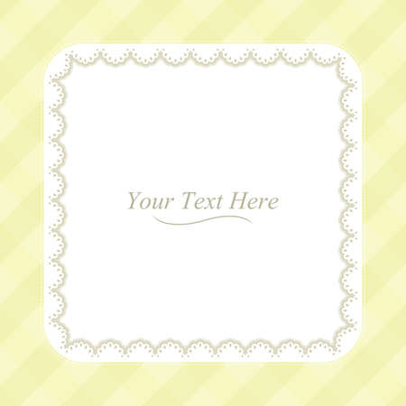 A square lace frame on a soft yellow plaid background  Vector