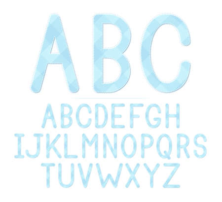 A blue plaid baby shower themed font set  Vector