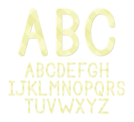 A yellow plaid baby shower themed font set  Vector