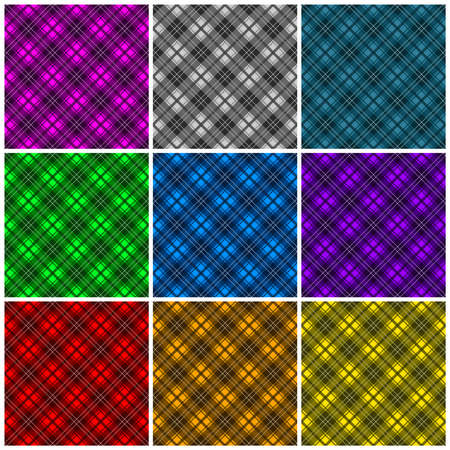 A collection of 9 different colored plaid backgrounds  Seamlessly repeatable  Vector