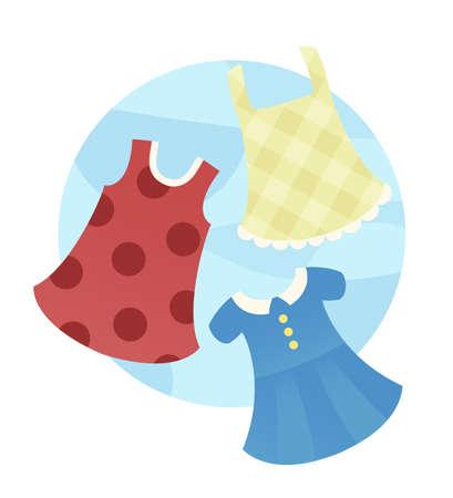 sundress: An illustration depicting 3 stylish summer dresses