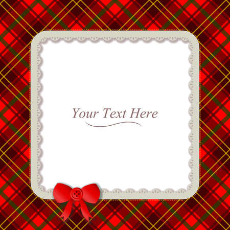 A traditional plaid patterned frame accented with a small red ribbon