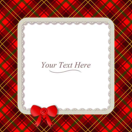 Un cadre de plaid à motifs traditionnels accentué avec un petit ruban rouge Banque d'images - 27375839