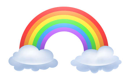Illustration of a rainbow arced between two clouds  Illustration