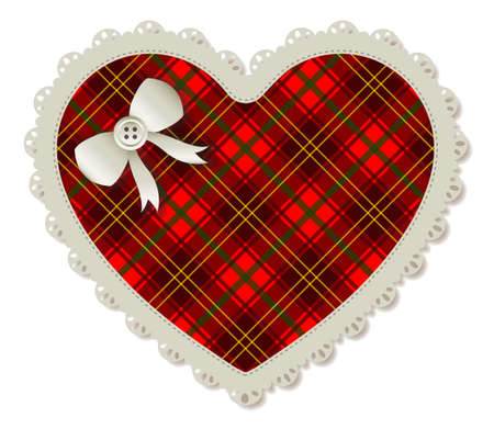 Illustration of a plaid heart-shaped sewing patch  Accented with a small white ribbon