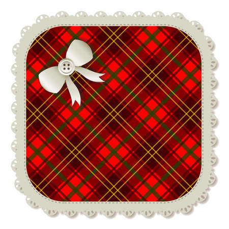 Illustration of a plaid square sewing patch  Accented with a small white ribbon