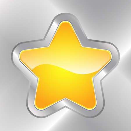 Illustration depicting a glossy star-shared button embedded in metal  Vectores