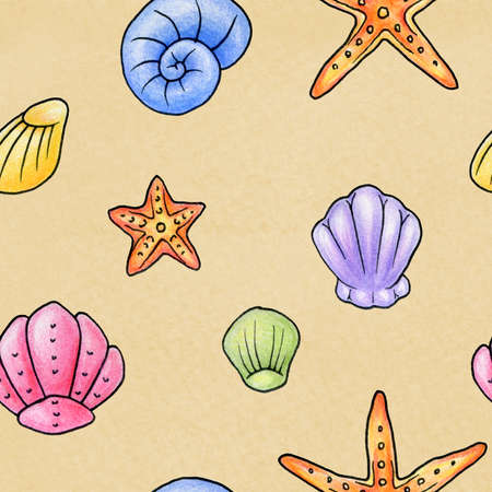 A hand drawn beach texture depicting different types of shells and starfish  Seamlessly repeatable