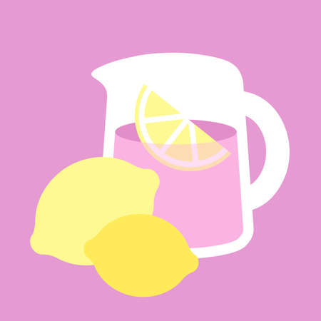 Simple illustration of a pitcher of pink lemonade on a pink background