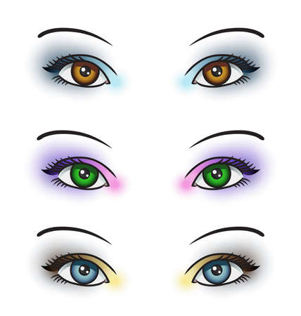 green eyes: Illustration depicting 3 sets of eyes with different colored eye makeup