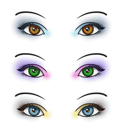 ojos verdes: Ilustración que representa a 3 pares de ojos con maquillaje de ojos de color diferente