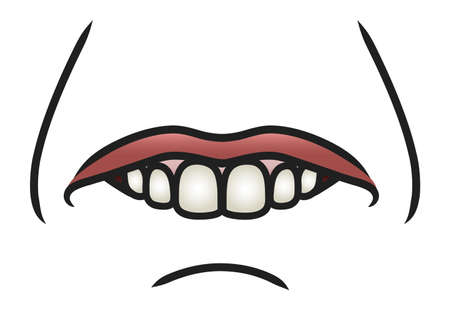 Illustration of a cartoon mouth biting it s bottom lip