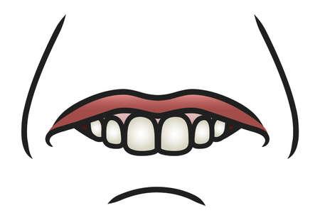 Illustration of a cartoon mouth biting it s bottom lip