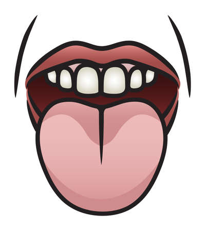 Illustration of a cartoon mouth sticking it s tongue out