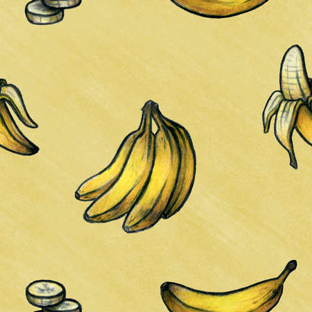 starch: Hand drawn background depicting bananas in various shapes and positions  Seamlessly repeatable  Stock Photo