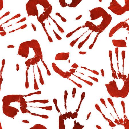 manos sucias: De fondo que representa huellas de manos ensangrentadas en varios ángulos inconsútil repetible