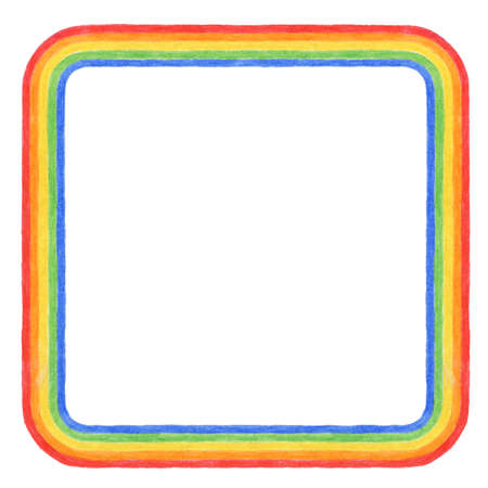A hand drawn square rainbow border  Foto de archivo