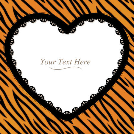 An orange and black tiger heart striped frame with a black lace trim