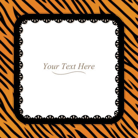 An orange and black square tiger striped frame with a black lace trim  Ilustrace