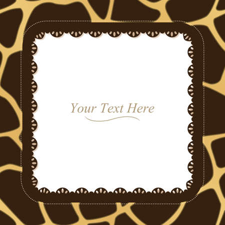 A yellow and brown giraffe spotted frame with a dark lace trim  Vector