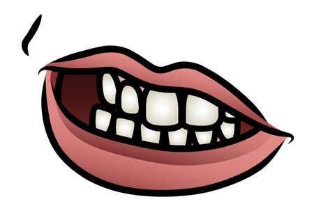 clipart wrinkles: Illustration of a cartoon mouth in an unsure expression