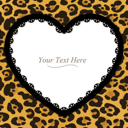 A yellow and brown leopard spotted frame with a dark lace trim   Vector