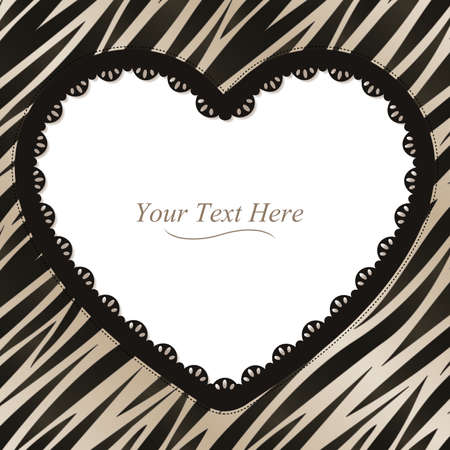 white trim: A black and white zebra striped frame with a dark lace trim
