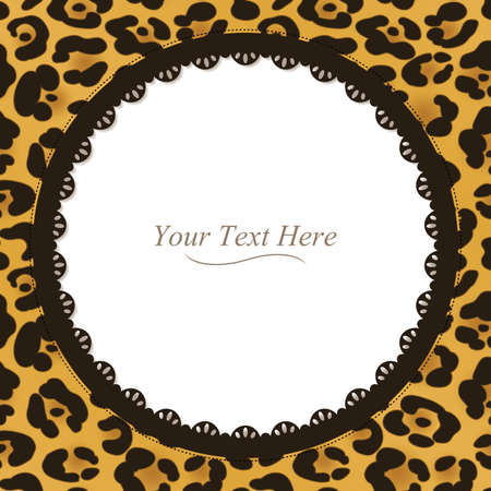 A yellow and brown leopard spotted frame with a dark lace trim