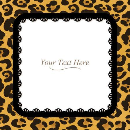 Un leopardo amarillo y marrón manchada marco con un borde de encaje oscuro Foto de archivo - 29268000