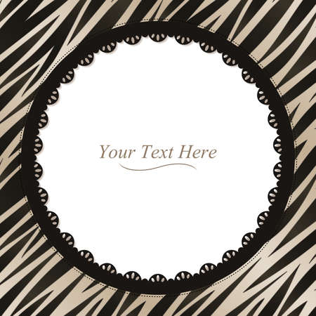 A black and white zebra striped frame with a dark lace trim  Vector