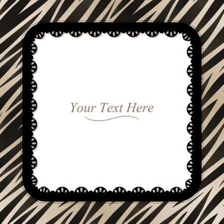 A black and white zebra striped frame with a dark lace trim