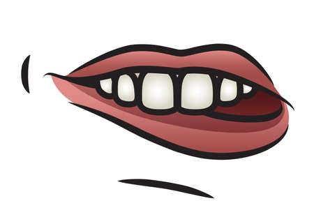 taper: Illustration of a cartoon mouth biting it s lip  Illustration