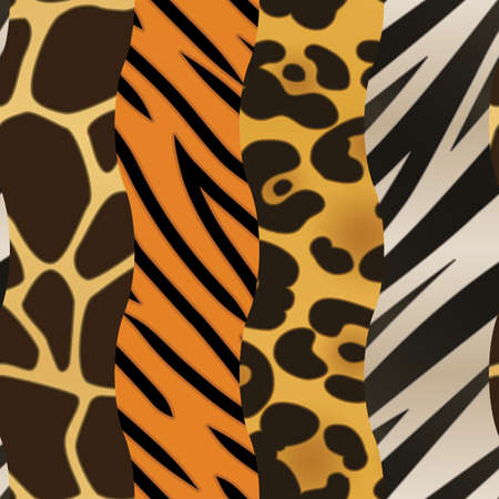 A background featuring four different strips of animal print  Seamlessly Repeatable