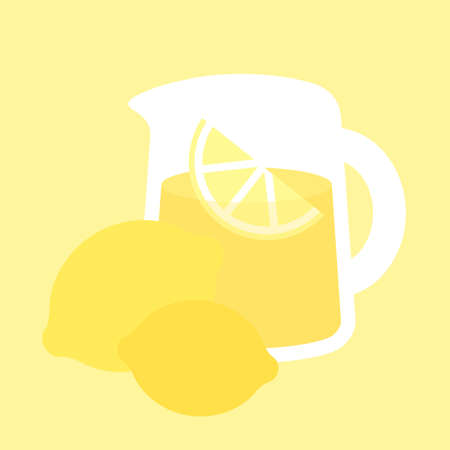 quench: Simple illustration of a pitcher of lemonade on a yellow background