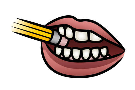 mouth open: Illustration of a cartoon mouth biting a pencil in concentration
