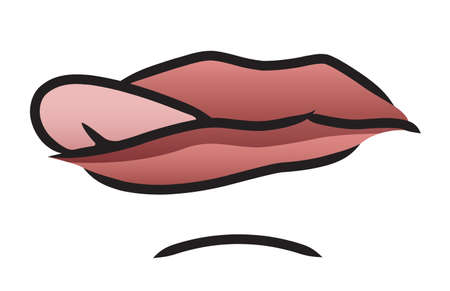lips close up: Illustration of a cartoon mouth poking it s tongue out sideways