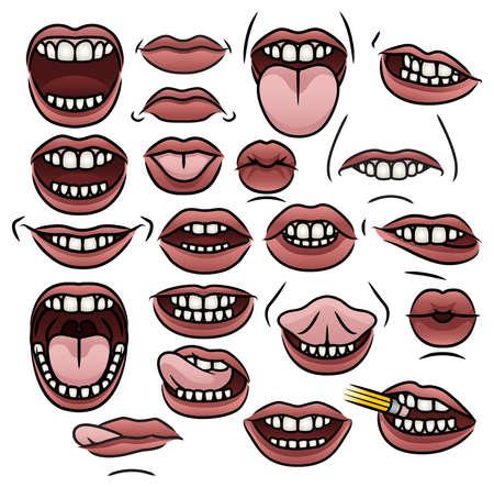 Een verzameling van eenentwintig illustraties van cartoon mond met verschillende posities en uitdrukkingen