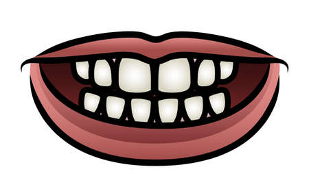 Illustration of a cartoon mouth giving a toothy smile