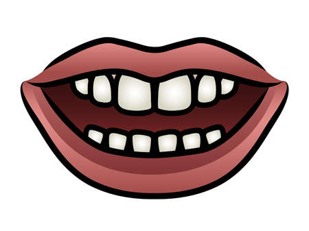 Illustration of a cartoon mouth open with a grin