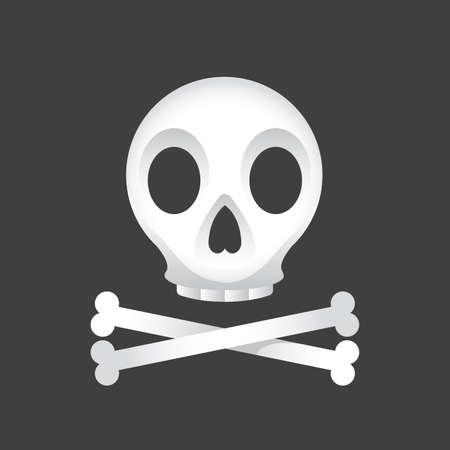 Illustration of a skull and crossbones on a black background