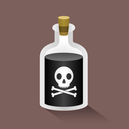 poison bottle: Illustration of a bottle labelled with a skull and crossbones, indicating poison